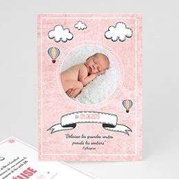 Faire-part naissance fille Montgolfière rose
