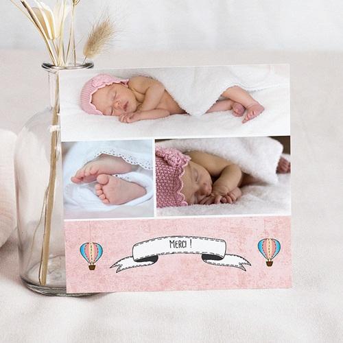 Carte Remerciement Naissance Fille Montgolfière rose