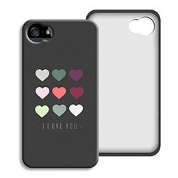 Coque Iphone 4/4s personnalisé - Coeurs de couleurs - 0