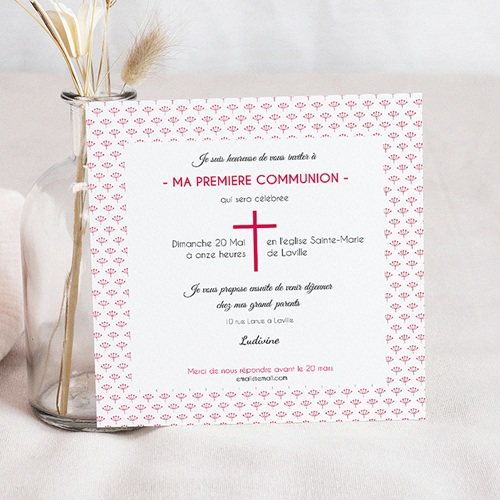 Faire-Part Communion Fille Fleurs de Mai