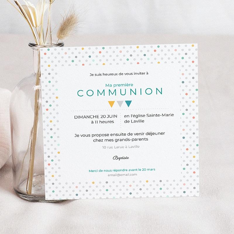 Faire-part communion garçon Multi-couleurs