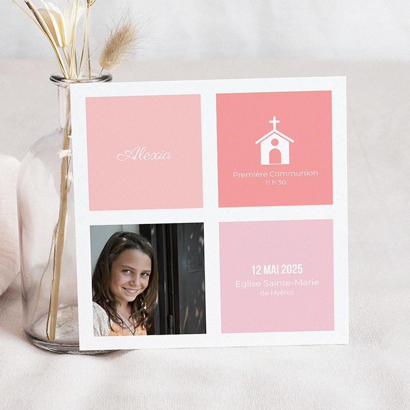 Faire-Part Communion Fille Carré rose