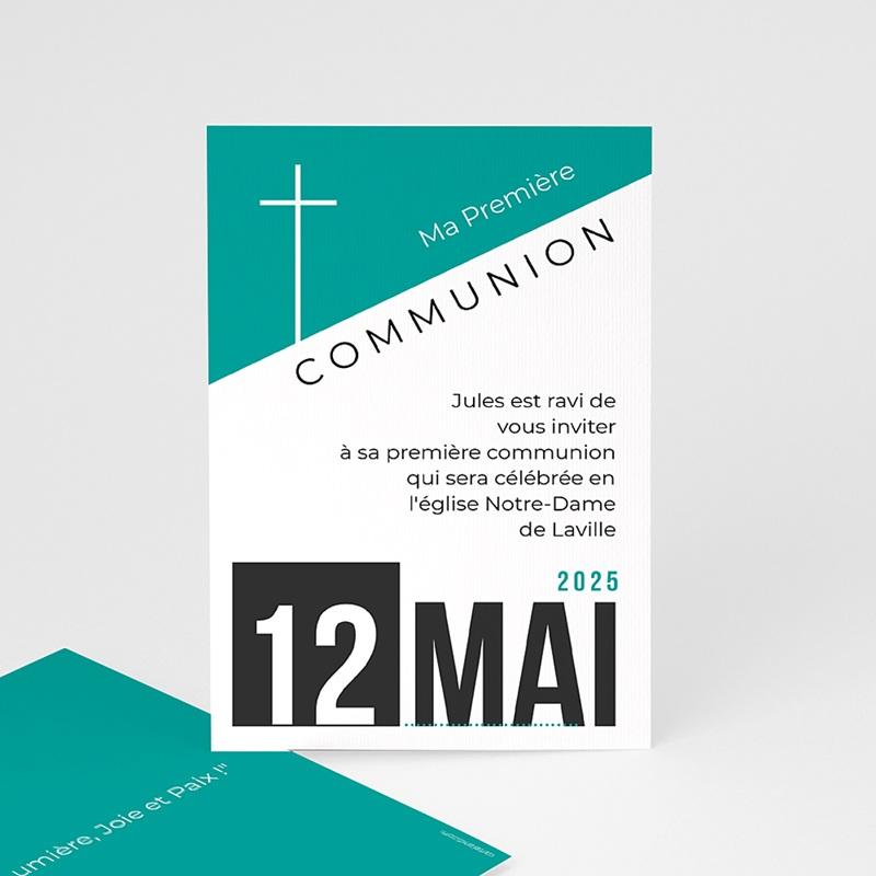 Faire-part Communion Garçon - Affiche moderne 40532 thumb