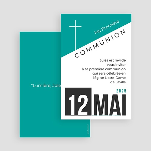 Faire-part Communion Garçon - Affiche moderne 40534 thumb
