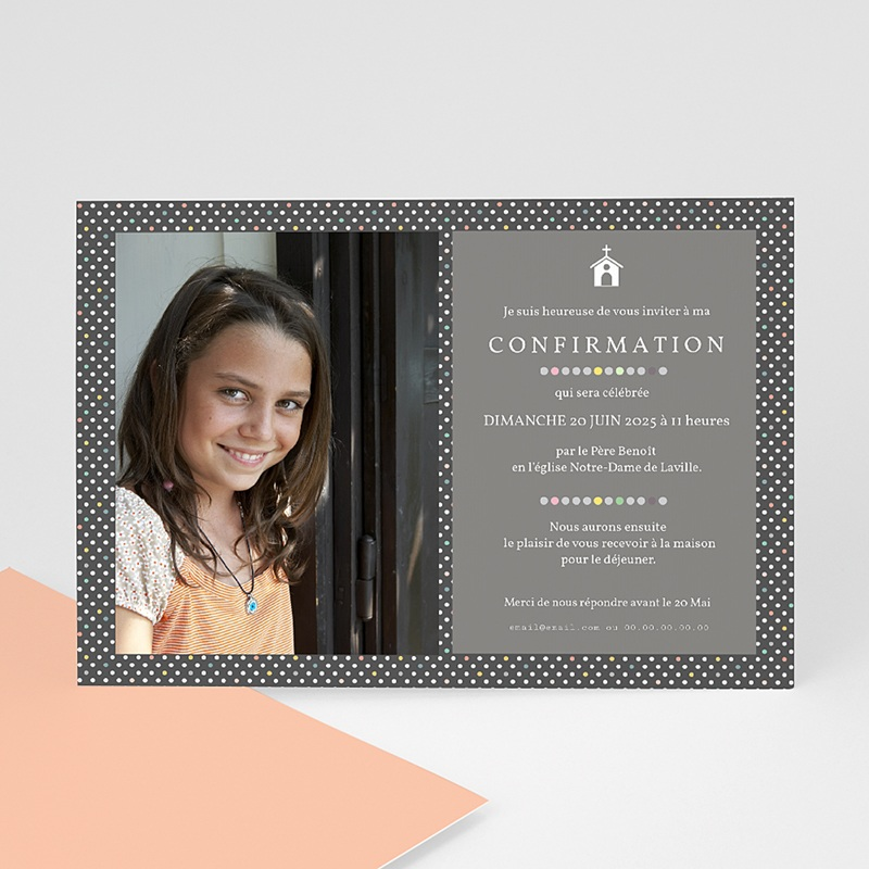Carte Invitation Confirmation Pois macaron