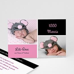 Carte remerciement naissance fille Mille Instants de bonheur - Rose