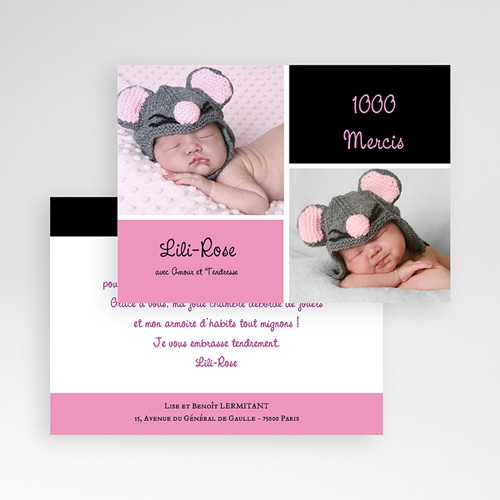 Carte remerciement naissance fille Mille Instants de bonheur - Rose pas cher