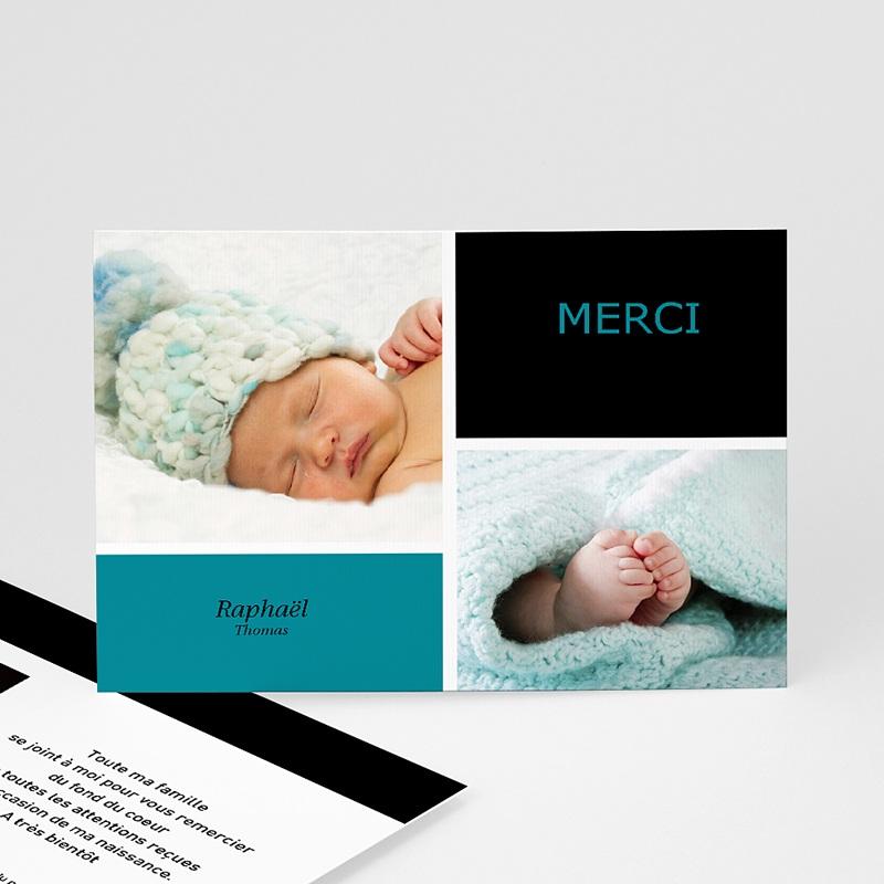 Carte remerciement naissance garçon Mille Instants de bonheur - Bleu