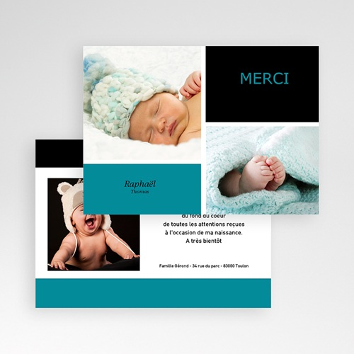 Carte remerciement naissance garçon Mille Instants de bonheur - Bleu pas cher