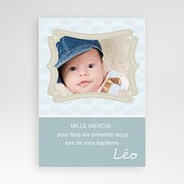 Carte remerciement baptême garçon Baptême Léo