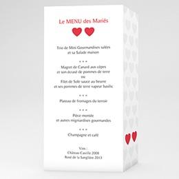 Menu Mariage Personnalisé Mon coeur, mon Amour