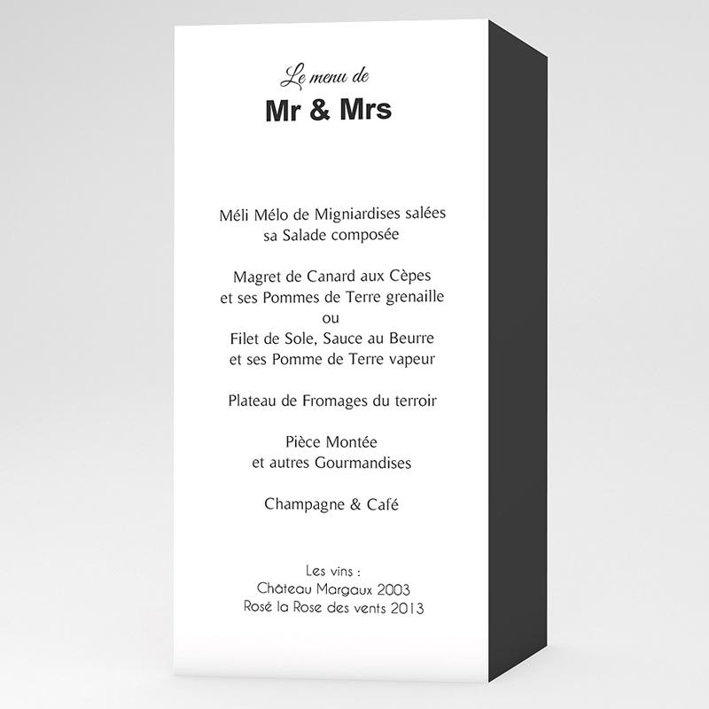 Menu Mariage Personnalisé Mr & Mrs