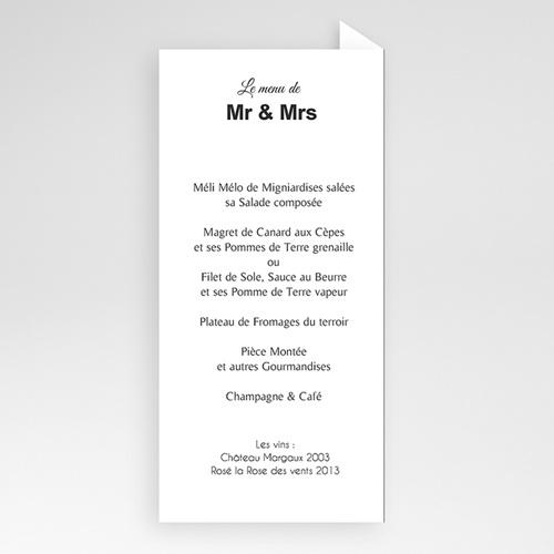 Menu Mariage Personnalisé Mr & Mrs pas cher