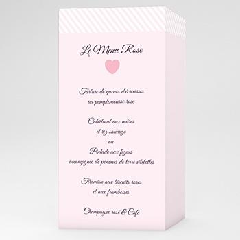Menu Mariage Personnalisé Rose bonbon