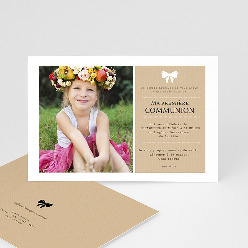 Faire-part communion fille Ruban blanc