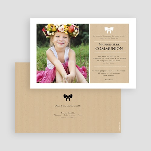 Faire-part communion fille Ruban blanc gratuit
