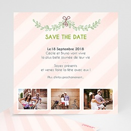 Save the date mariage Rayures et photos