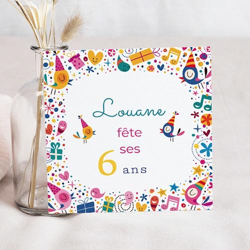 Carte invitation anniversaire fille 6 ans en fête