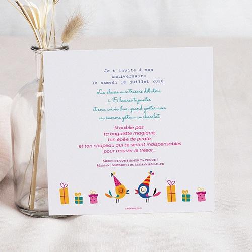 Carte invitation anniversaire fille 6 ans en fête pas cher