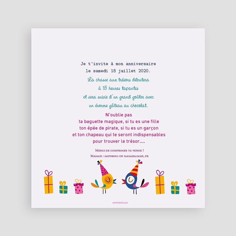 invitations anniversaire fille 6 ans vive la f te. Black Bedroom Furniture Sets. Home Design Ideas