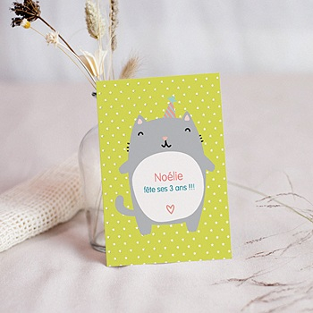 Invitations Anniversaire Fille - Chat Surprise - 0