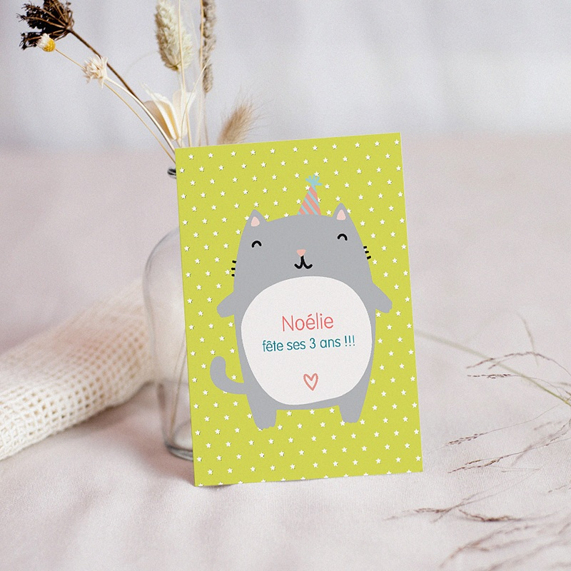 Carte invitation anniversaire fille Chat Surprise