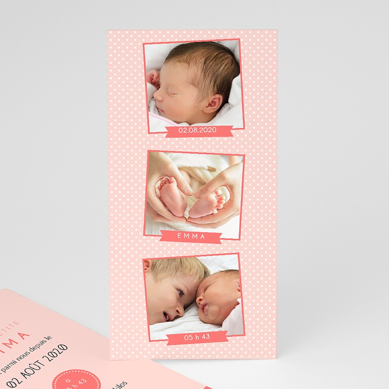 Faire-Part Naissance Fille - Série photo rose 41867 thumb