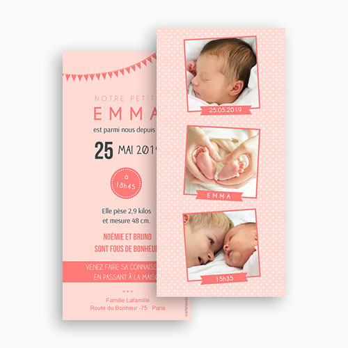 Faire-Part Naissance Fille - Série photo rose 41869 thumb