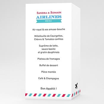 Menu mariage personnalisé airlines pas cher