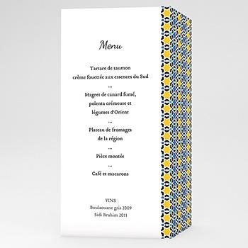 Achat menu mariage personnalisé mezzé bleu