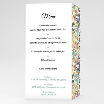 Création menu mariage personnalisé fleurs des champs
