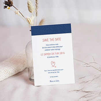 Achat save the date mariage rose, bleu nuit