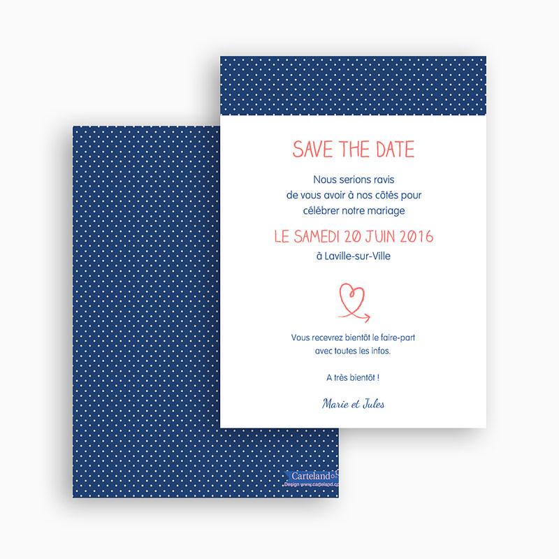 Save the date mariage Rose, bleu nuit gratuit