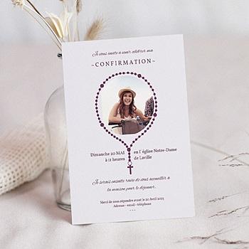 Carte invitation confirmation Chapelet à personnaliser