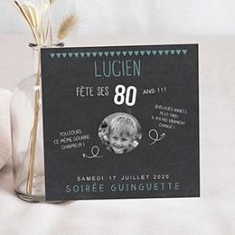 Carte invitation anniversaire adulte 80 ans ardoise