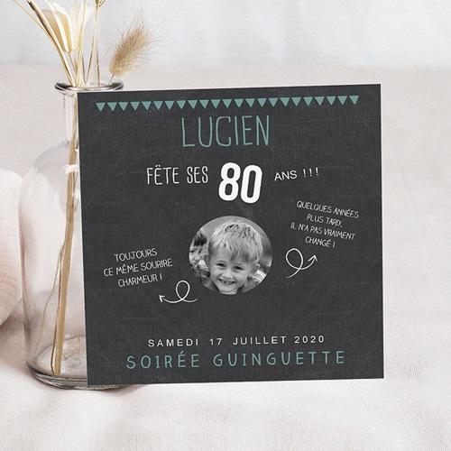 Invitation Anniversaire Adulte - 80 ans ardoise 42753 thumb