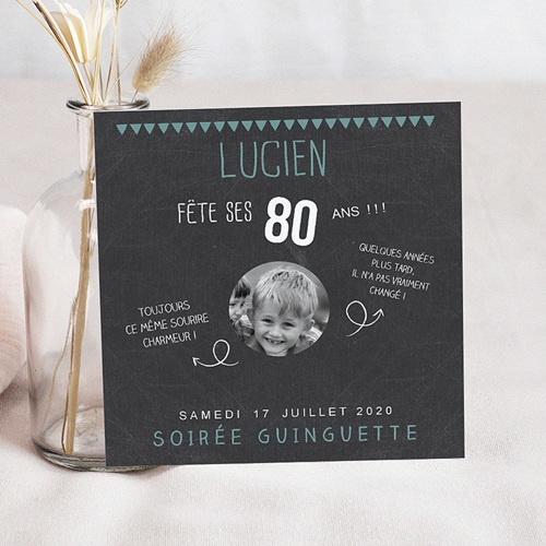 Invitation Anniversaire Adulte - 80 ans ardoise 42753