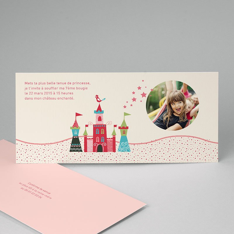 Carte invitation anniversaire fille Au château