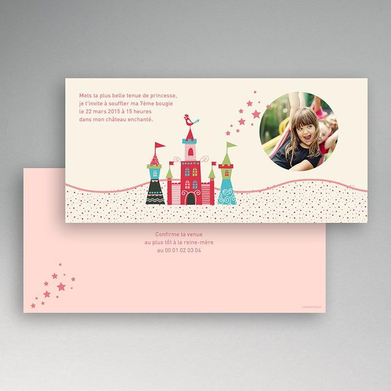 Carte invitation anniversaire fille Au château pas cher