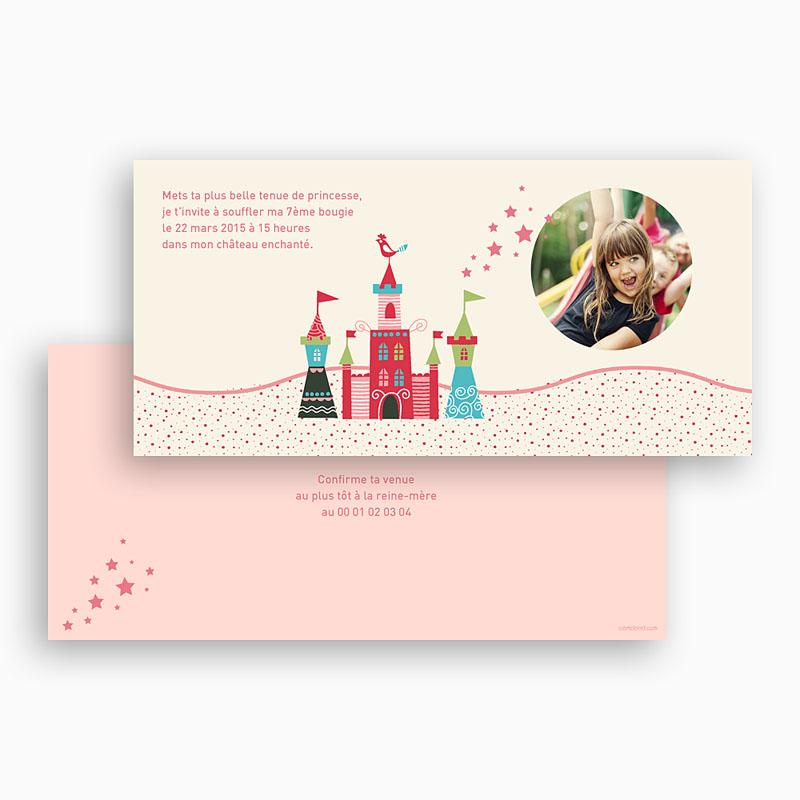 Carte invitation anniversaire fille Au château gratuit