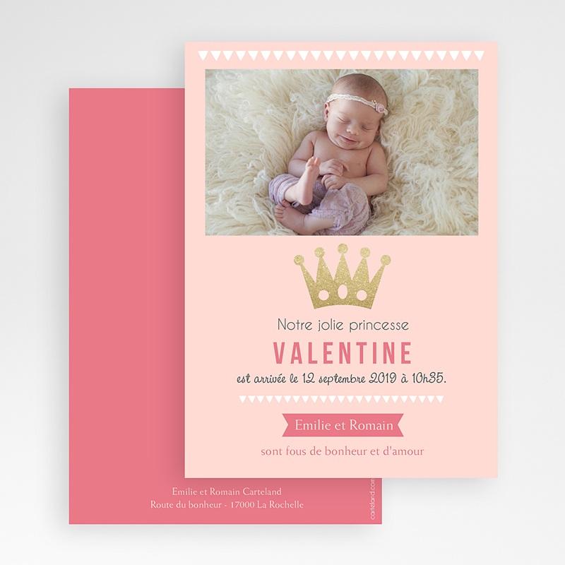 Faire-part naissance photo Princesse Moderne gratuit