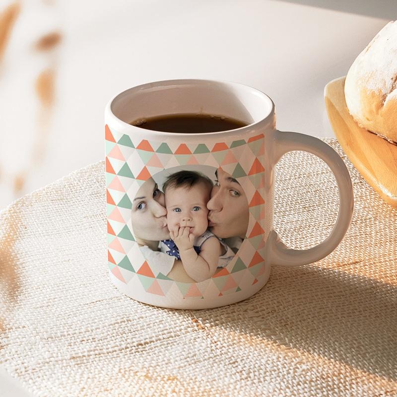 Mug personnalisé photo Triangles pastel