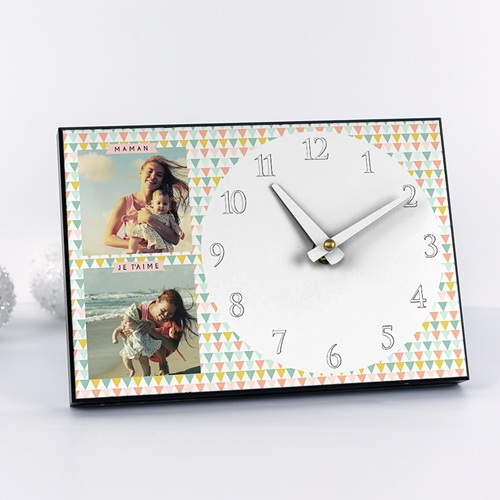 Horloge avec photo - A l'heure des triangles 42924