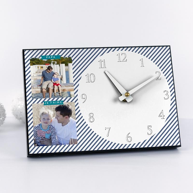 Horloge Personnalisée Photo A l'heure des rayures