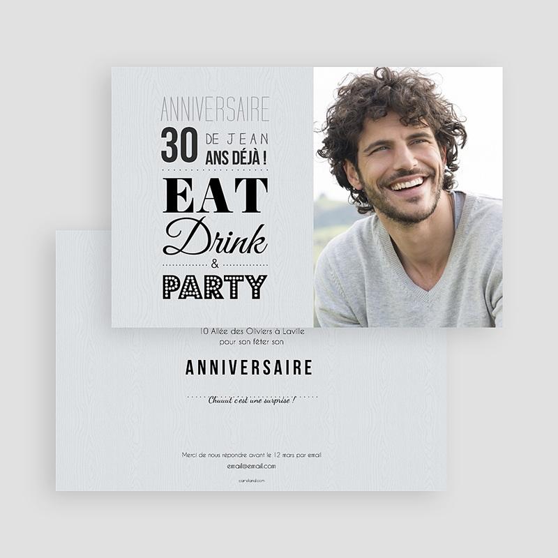 Carte invitation anniversaire adulte Ca se fête gratuit