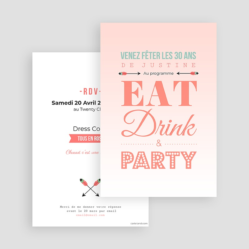 Invitation Anniversaire Adulte - Party ! 42980 thumb