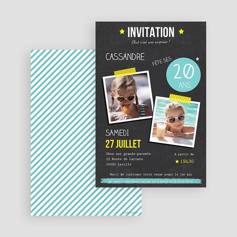 Invitation Anniversaire Adulte - Pop 20 ans 42986 thumb