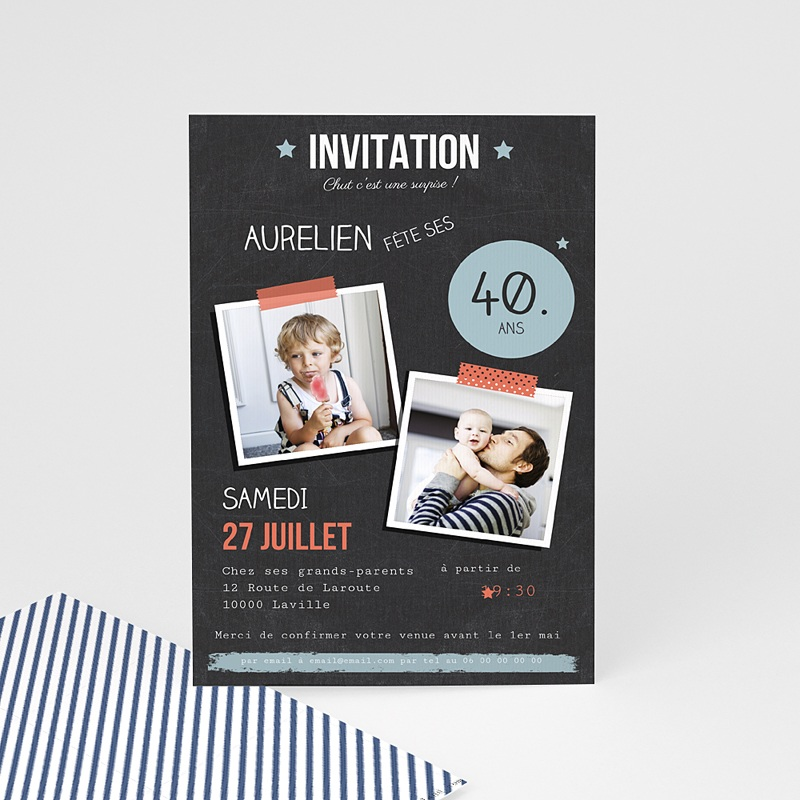 invitation anniversaire adulte pop 40 ans