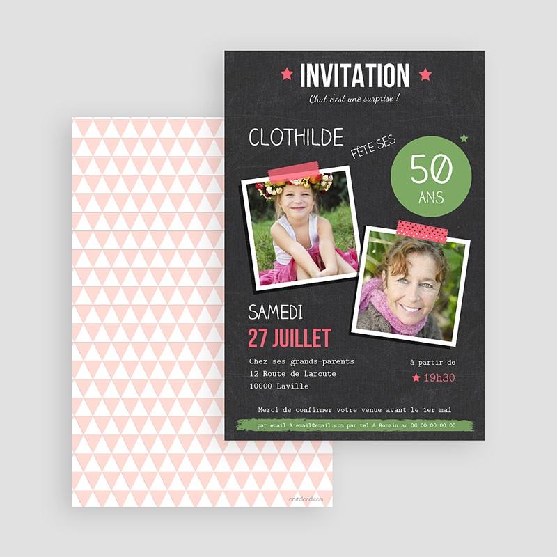 Carte Invitation Anniversaire Adulte Pop 50 ans gratuit