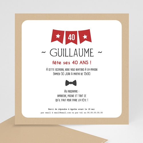 Invitation Anniversaire Adulte - Fanion 40 43014 thumb